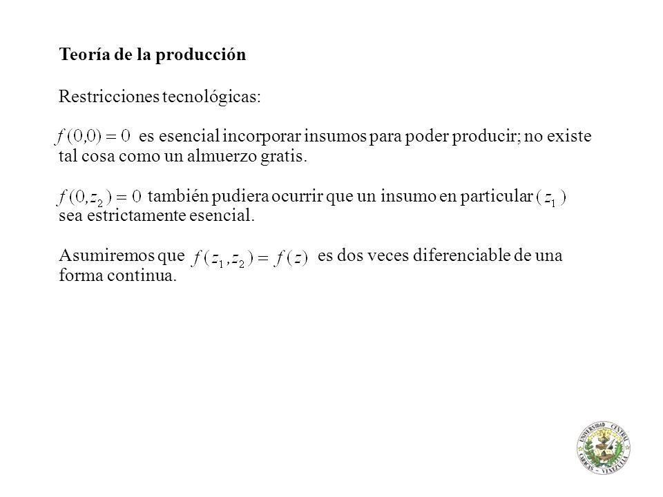 Teoría de la producción Restricciones tecnológicas: