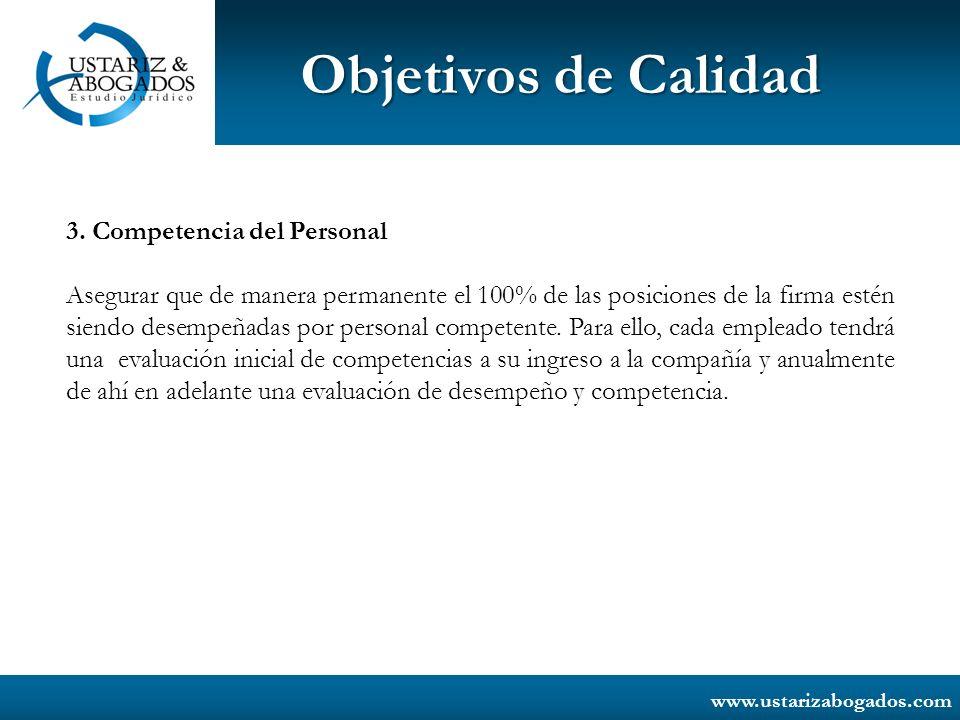 Objetivos de Calidad 3. Competencia del Personal