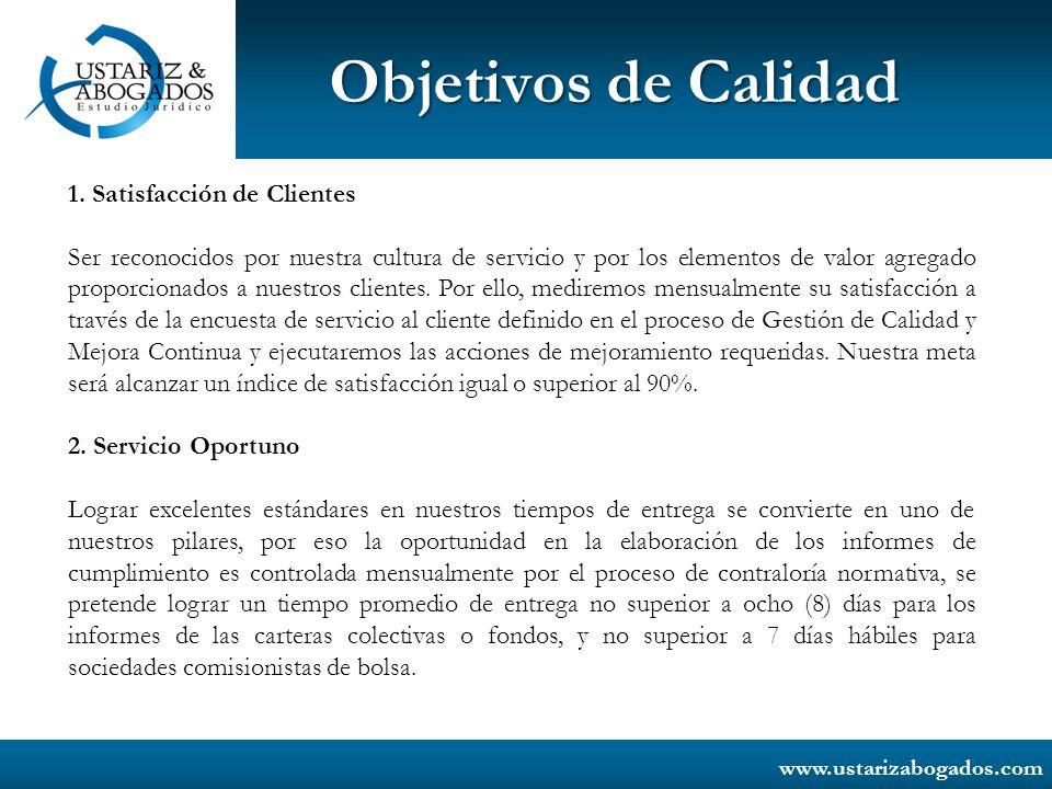 Objetivos de Calidad 1. Satisfacción de Clientes