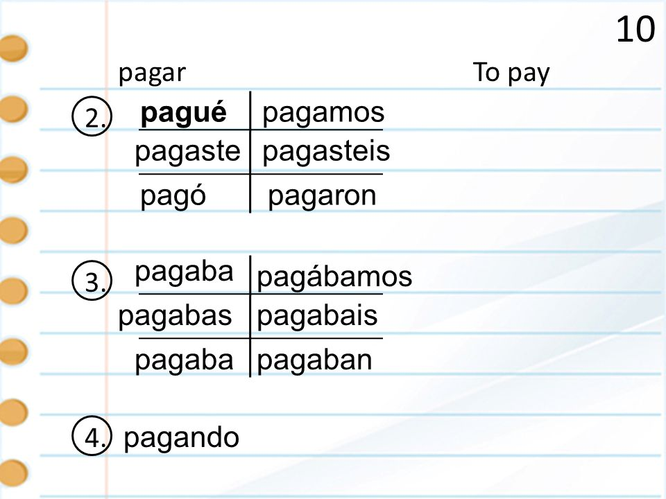 10 pagar To pay 2. pagué pagamos pagaste pagasteis pagó pagaron 3.