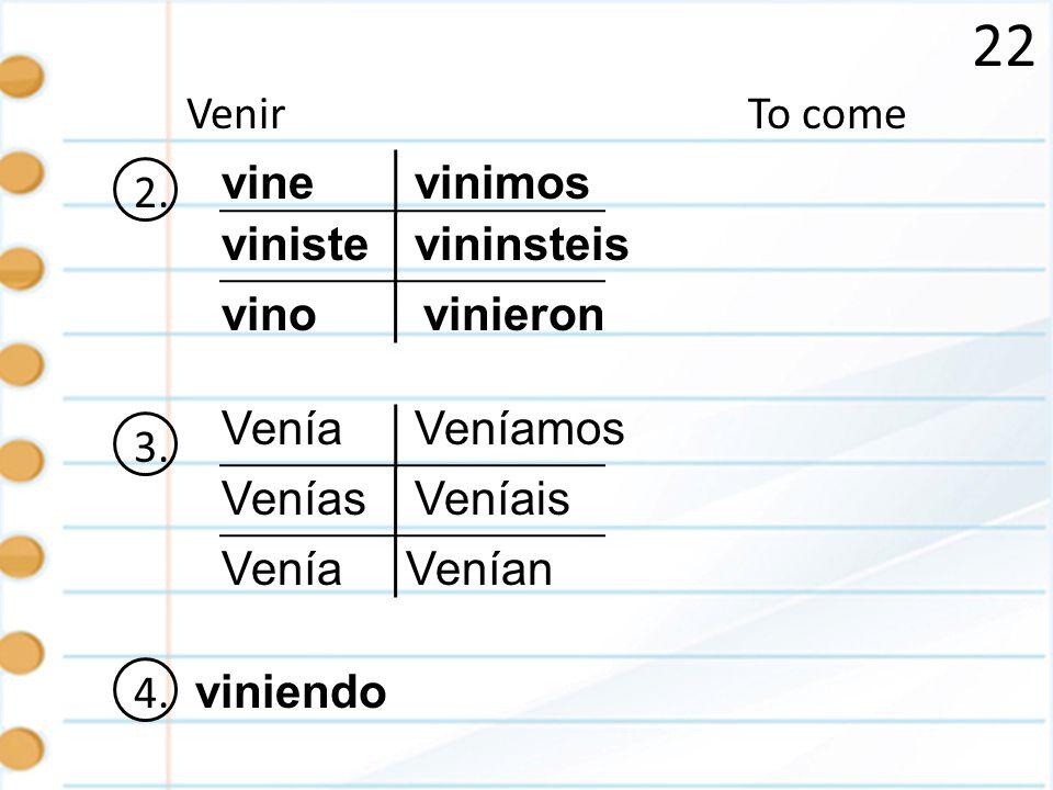22 Venir To come 2. vine vinimos viniste vininsteis vino vinieron 3.