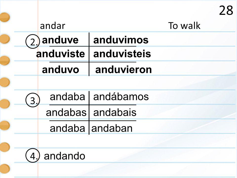 28 andar To walk 2. anduve anduvimos anduviste anduvisteis anduvo