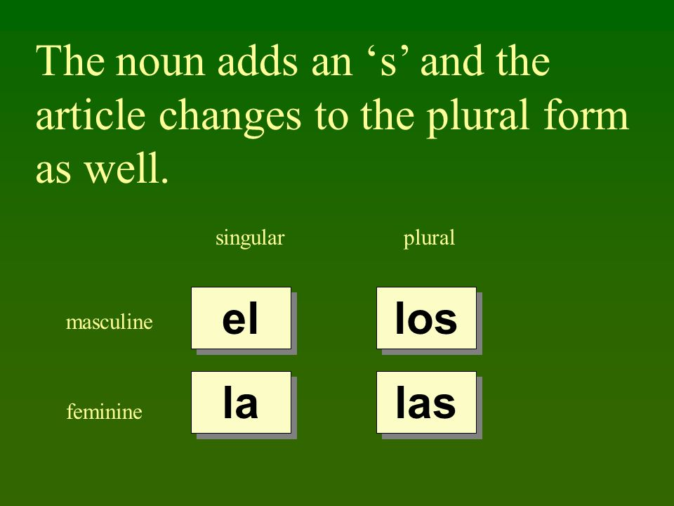 The noun adds an 's' and the article changes to the plural form as well.