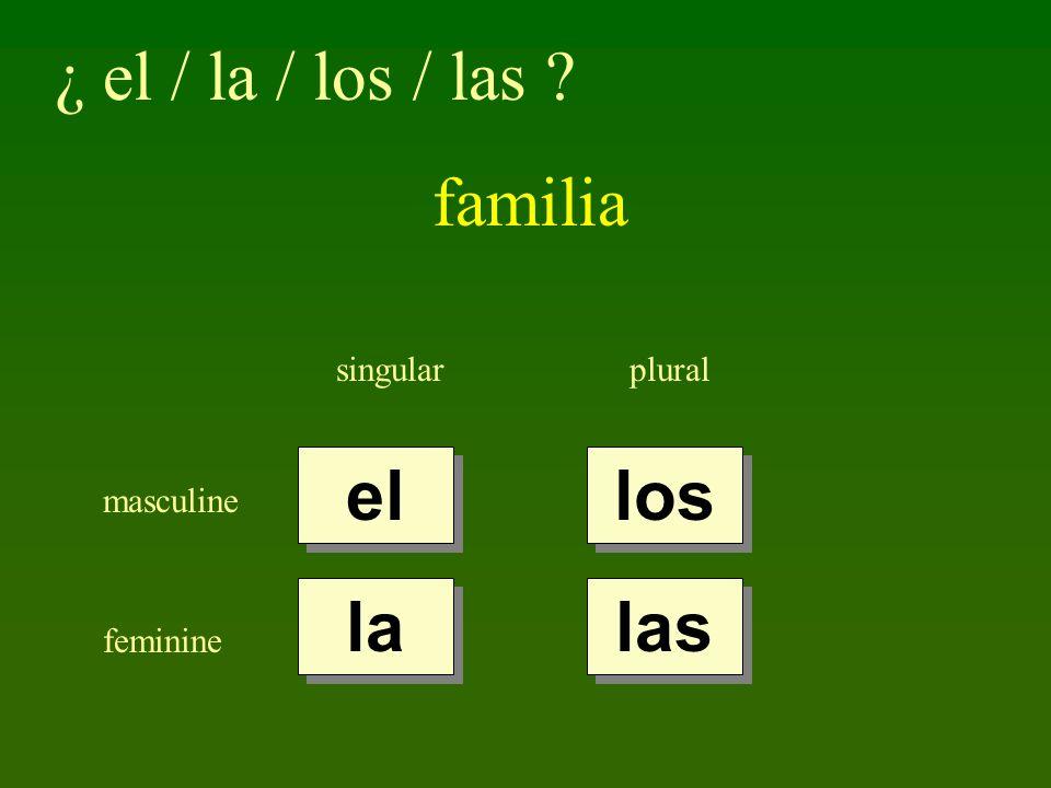 ¿ el / la / los / las familia el los la las singular plural