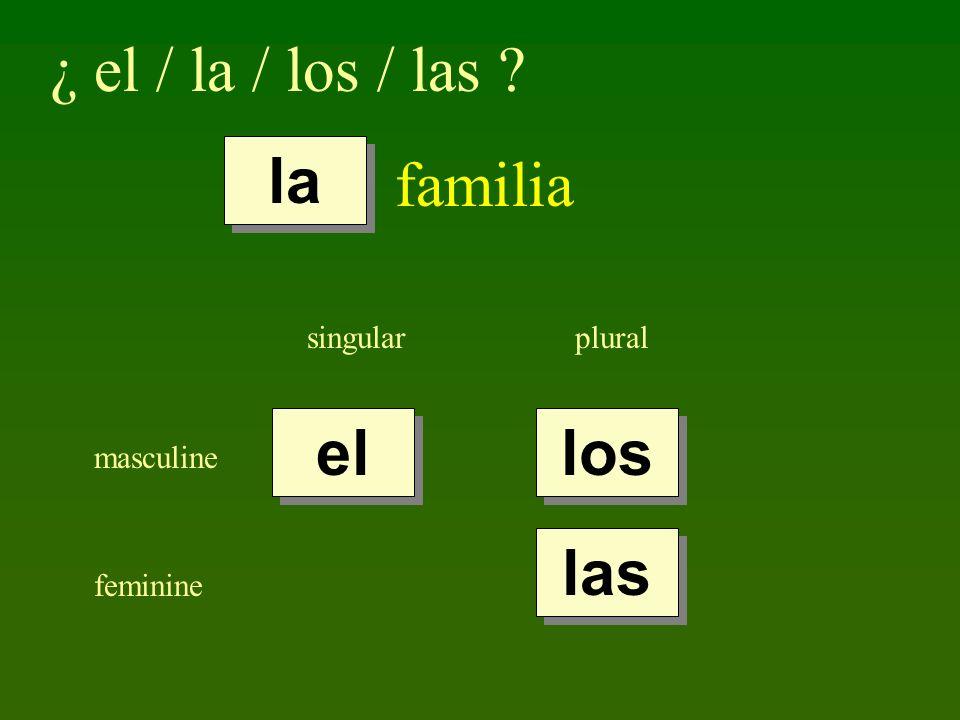 ¿ el / la / los / las familia la el los las singular plural