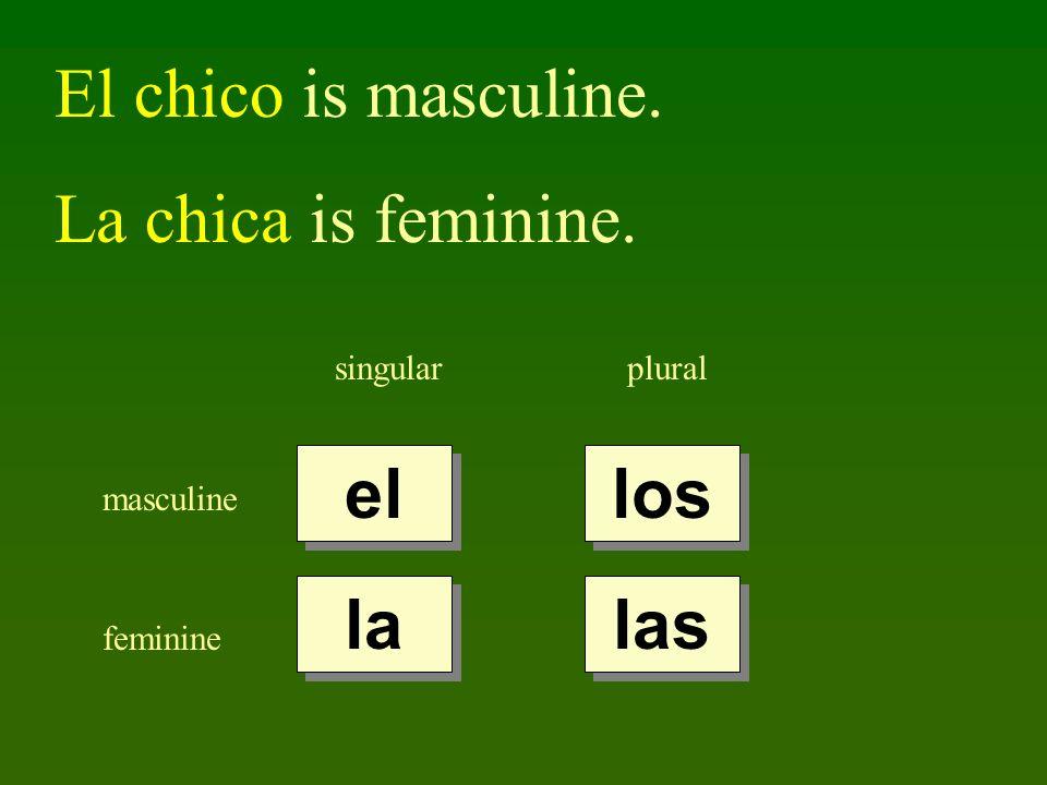 El chico is masculine. La chica is feminine. el los la las singular