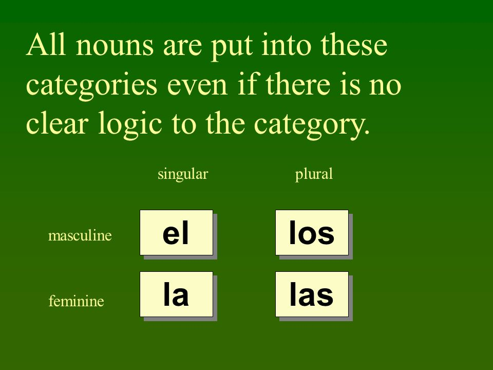 All nouns are put into these categories even if there is no clear logic to the category.