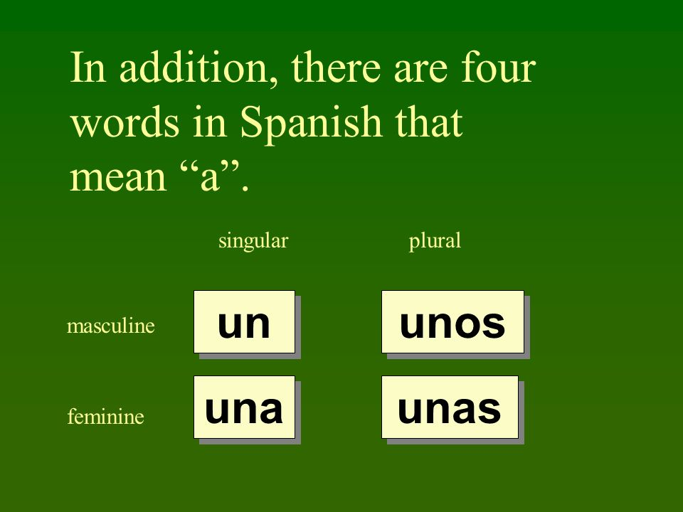 In addition, there are four words in Spanish that mean a .