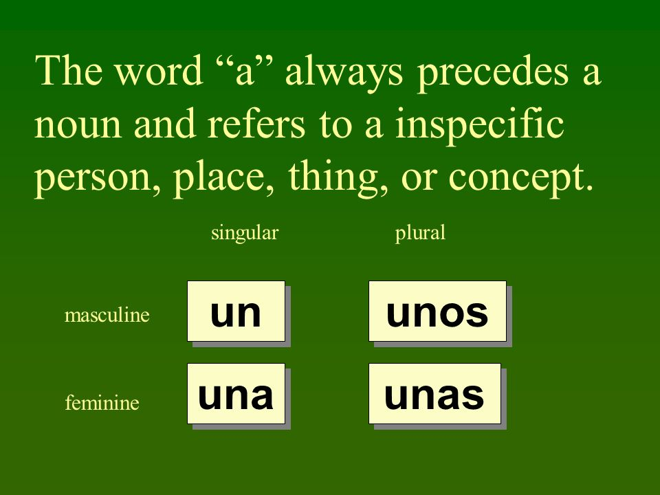 The word a always precedes a noun and refers to a inspecific person, place, thing, or concept.