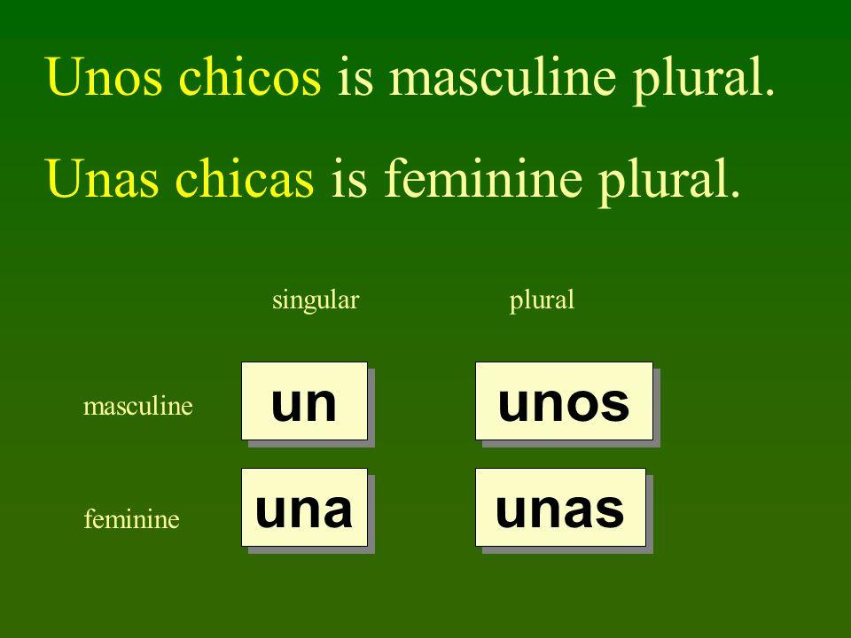 Unos chicos is masculine plural. Unas chicas is feminine plural.
