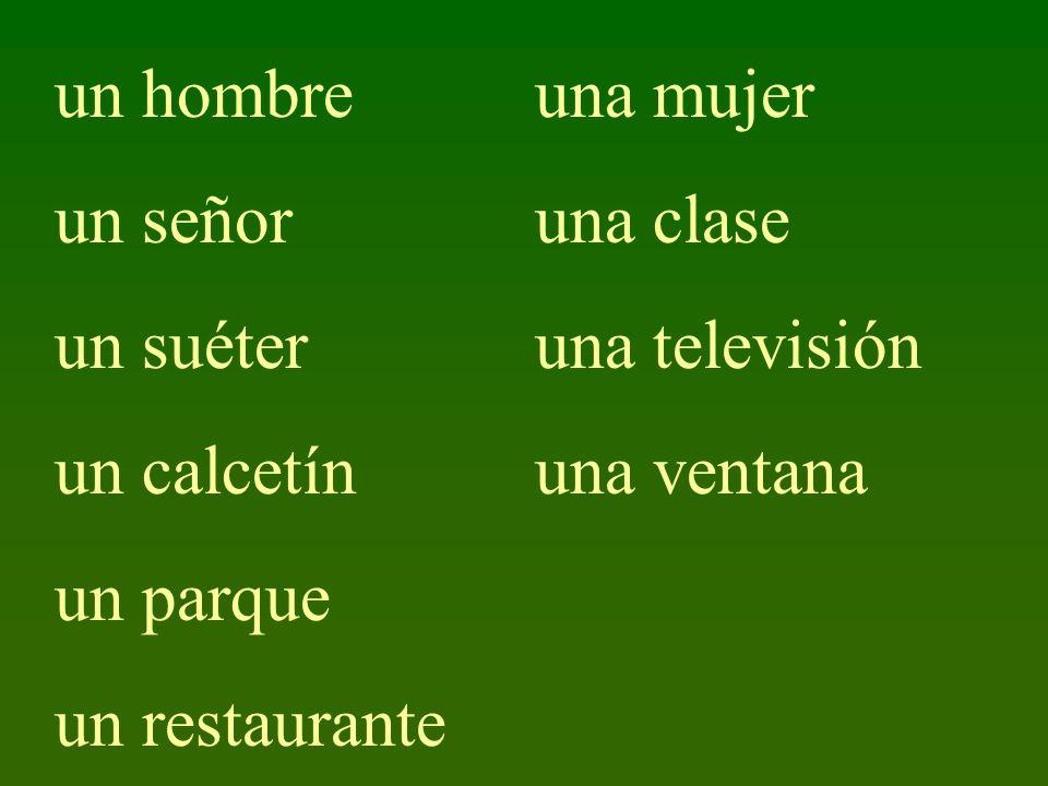 un hombre un señor. un suéter. un calcetín. un parque. un restaurante. una mujer. una clase. una televisión.
