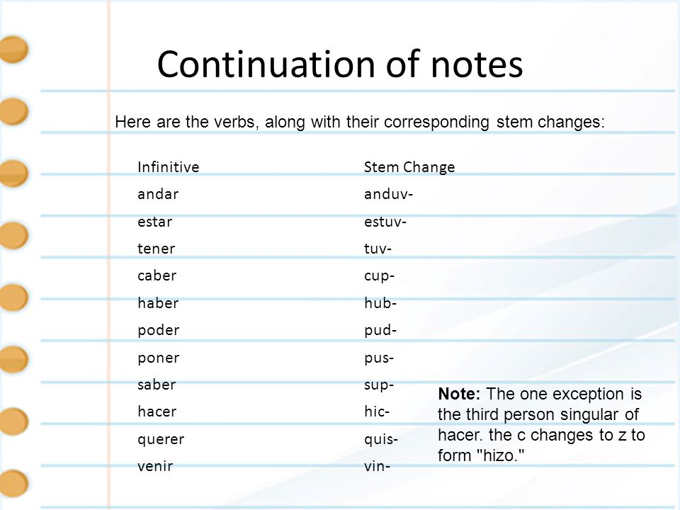 Continuation of notesHere are the verbs, along with their corresponding stem changes: Infinitive. Stem Change.