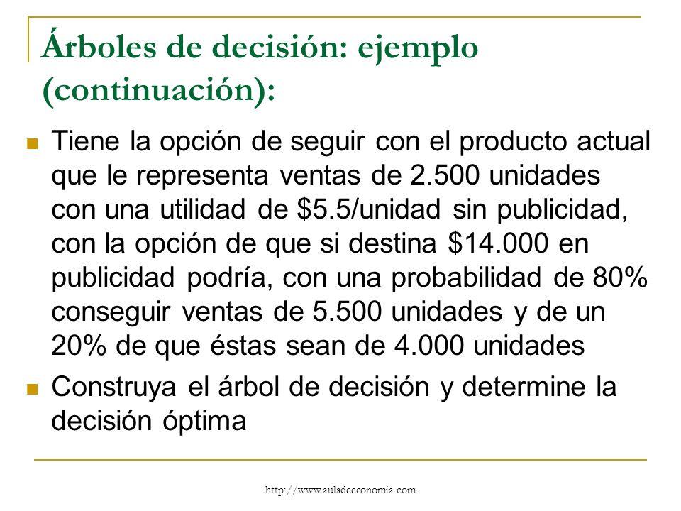 Árboles de decisión: ejemplo (continuación):