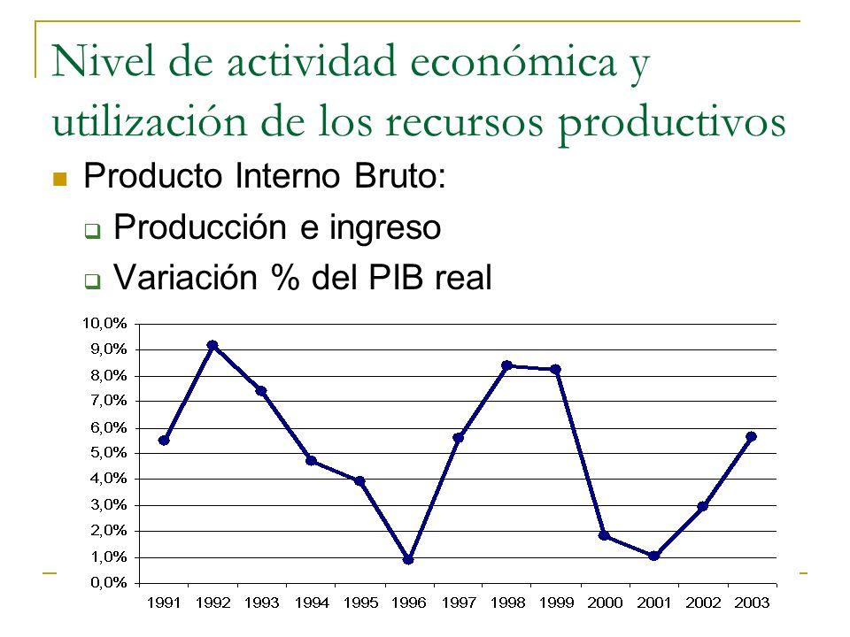 Nivel de actividad económica y utilización de los recursos productivos