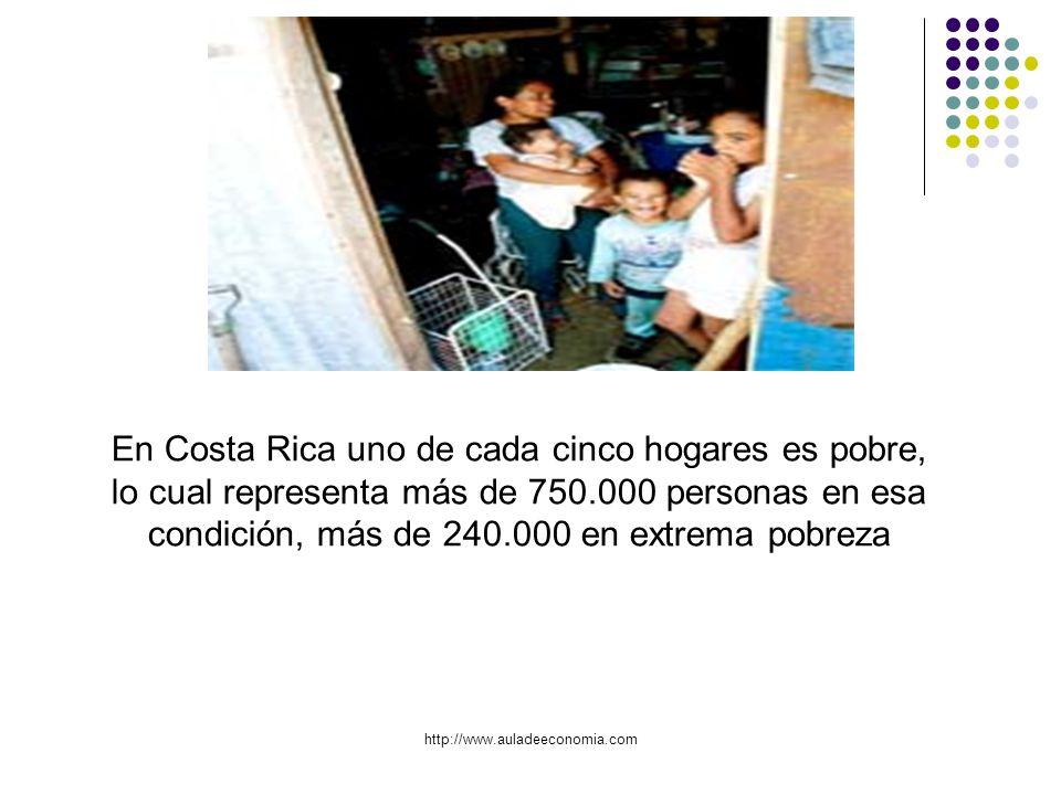 En Costa Rica uno de cada cinco hogares es pobre, lo cual representa más de 750.000 personas en esa condición, más de 240.000 en extrema pobreza