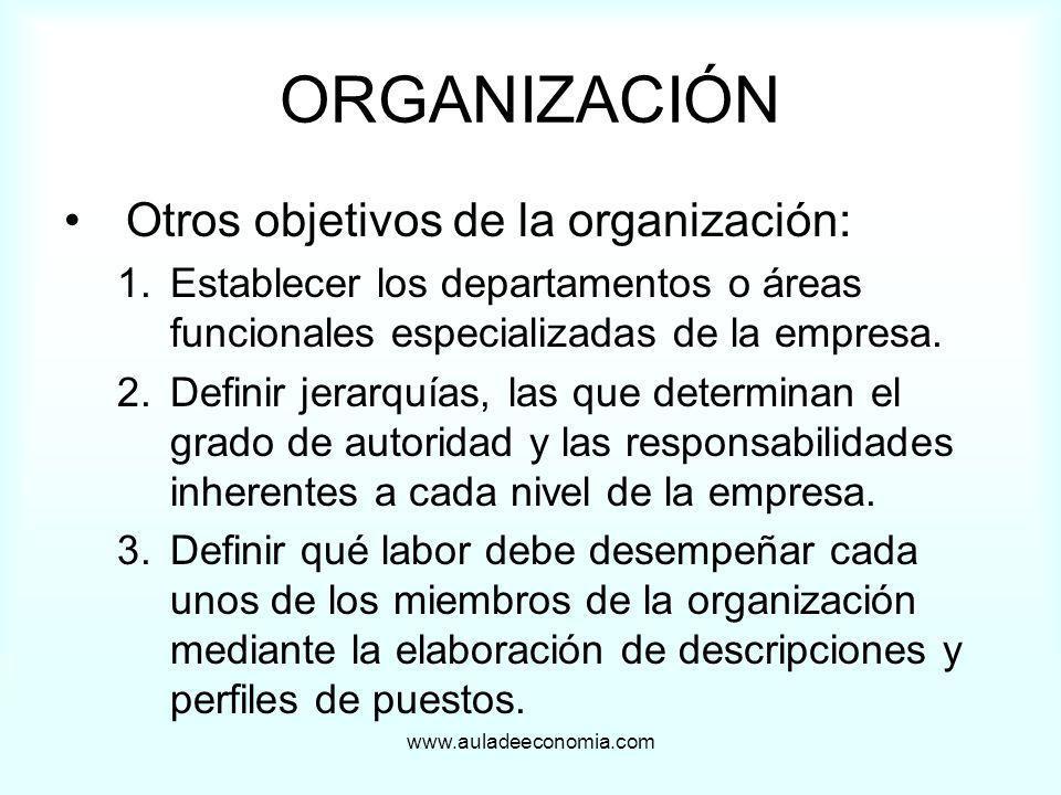 ORGANIZACIÓN Otros objetivos de la organización: