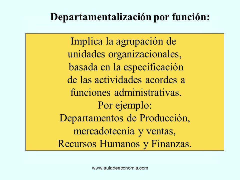 Departamentalización por función: