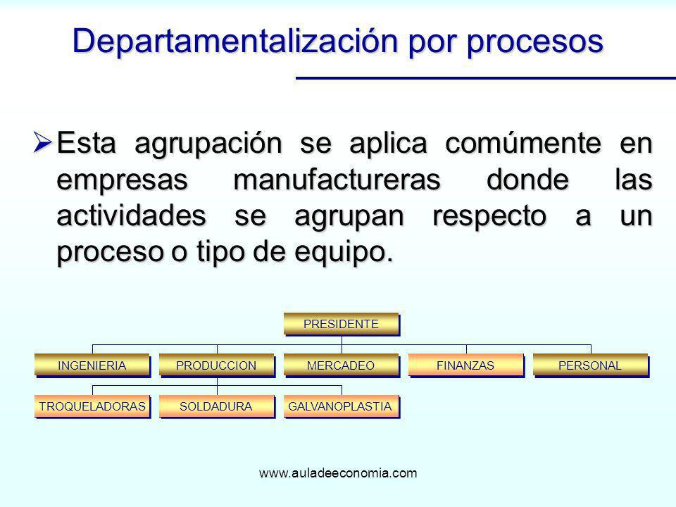 Departamentalización por procesos