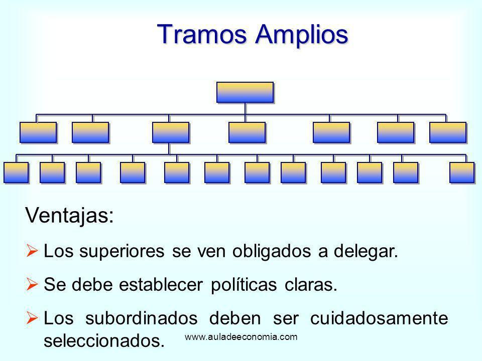 Tramos Amplios Ventajas: Los superiores se ven obligados a delegar.