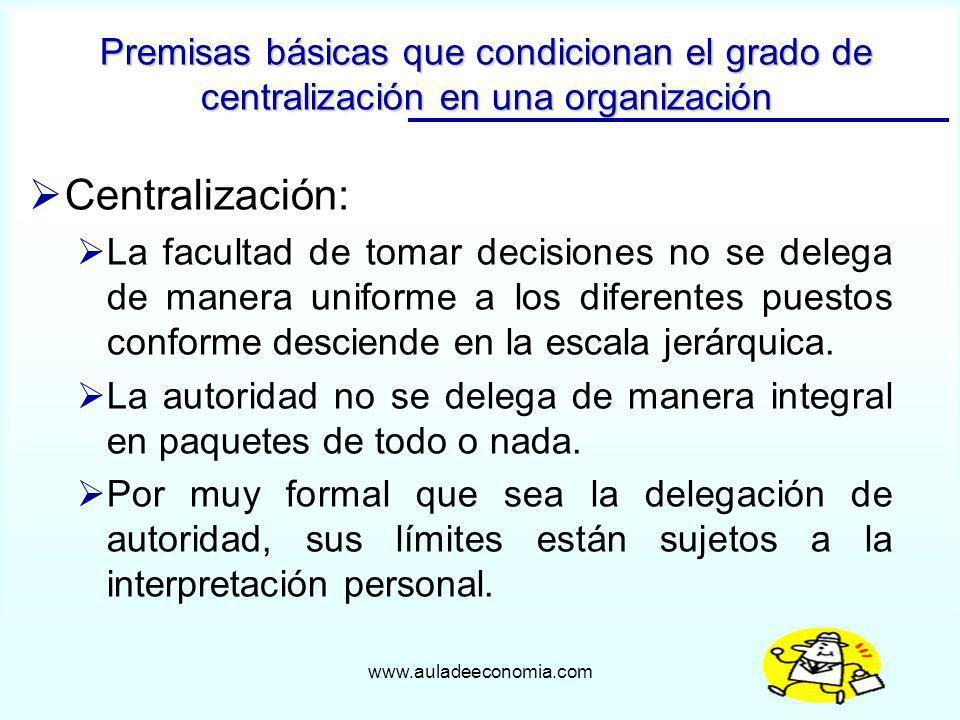Premisas básicas que condicionan el grado de centralización en una organización