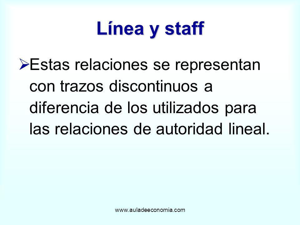Línea y staffEstas relaciones se representan con trazos discontinuos a diferencia de los utilizados para las relaciones de autoridad lineal.