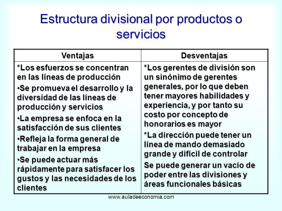 Estructura divisional por productos o servicios