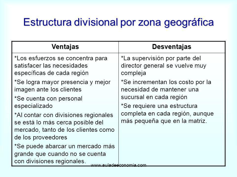 Estructura divisional por zona geográfica