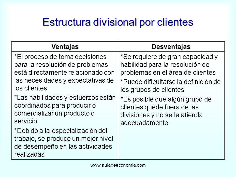 Estructura divisional por clientes
