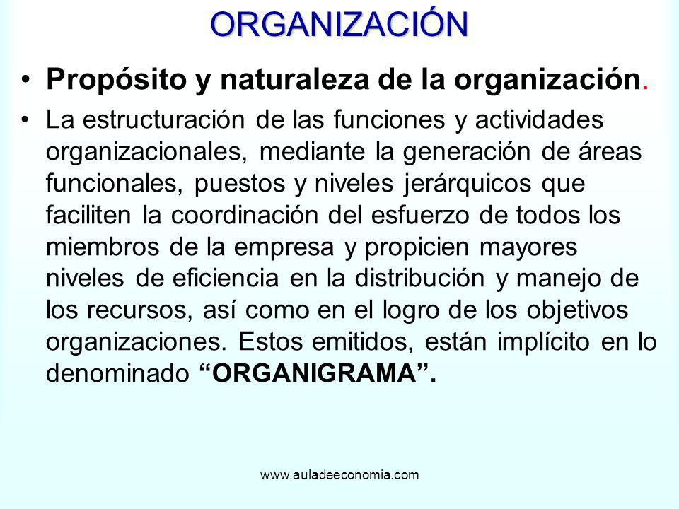 ORGANIZACIÓN Propósito y naturaleza de la organización.