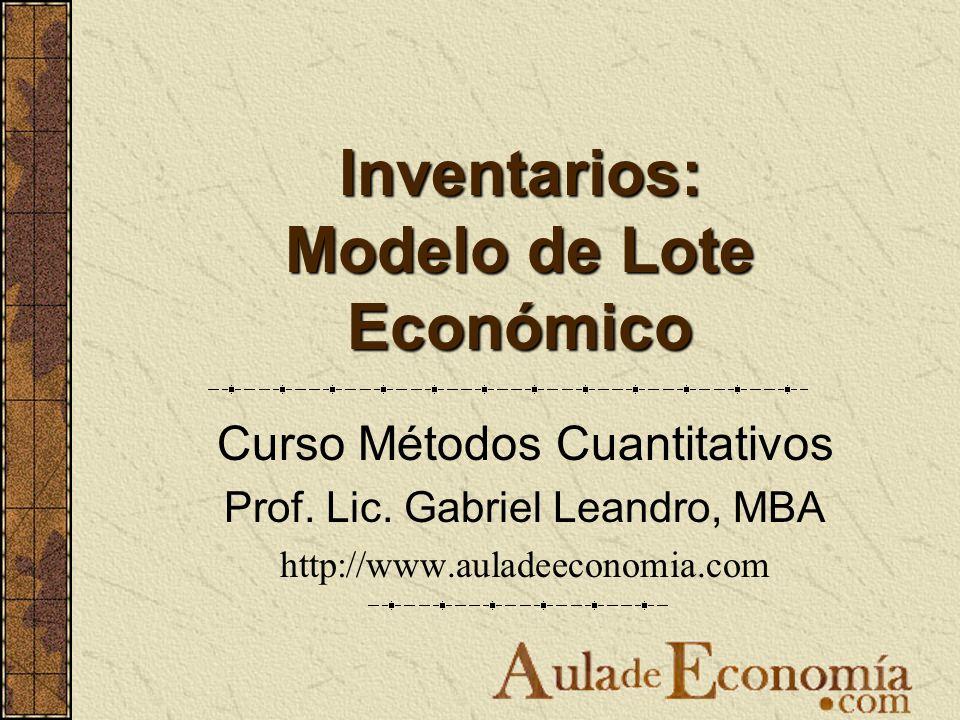 Inventarios: Modelo de Lote Económico