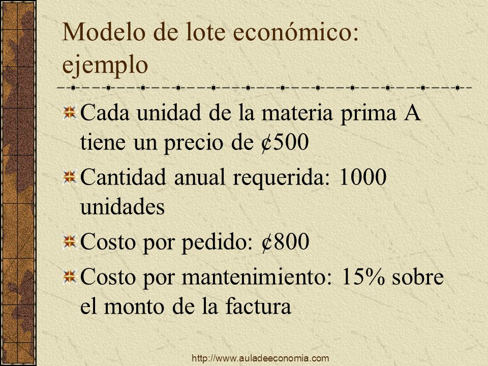 Modelo de lote económico: ejemplo