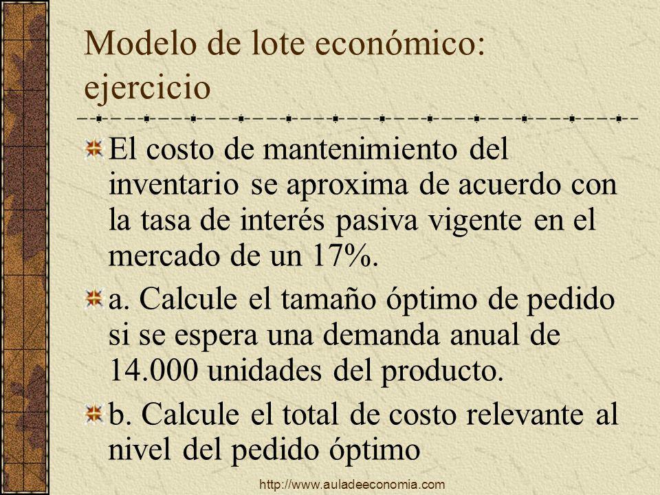 Modelo de lote económico: ejercicio