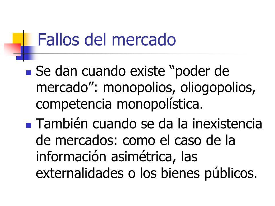 Fallos del mercado Se dan cuando existe poder de mercado : monopolios, oliogopolios, competencia monopolística.
