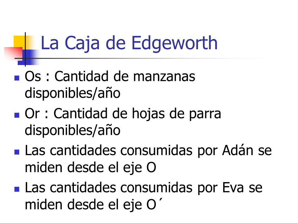 La Caja de Edgeworth Os : Cantidad de manzanas disponibles/año