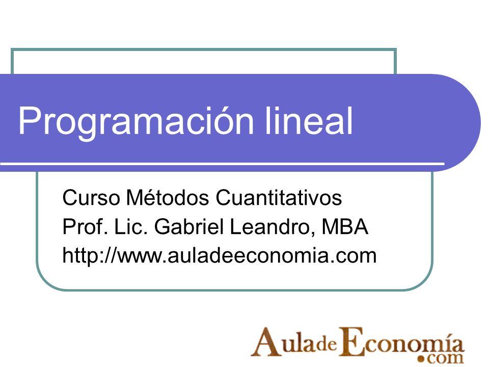 Programación lineal Curso Métodos Cuantitativos