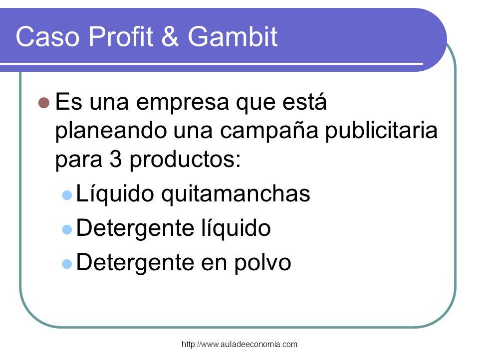 Caso Profit & GambitEs una empresa que está planeando una campaña publicitaria para 3 productos: Líquido quitamanchas.