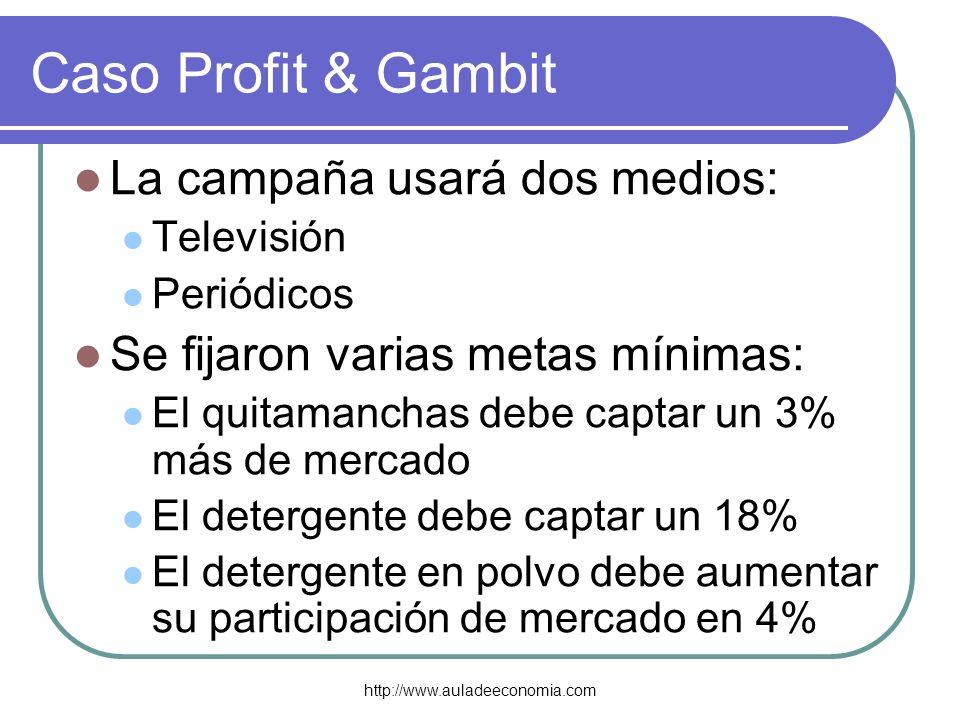 Caso Profit & Gambit La campaña usará dos medios: