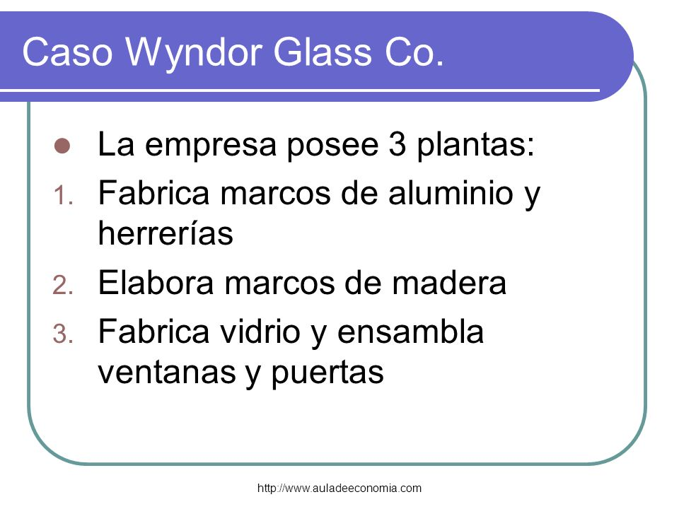 Caso Wyndor Glass Co. La empresa posee 3 plantas: