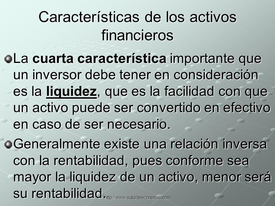 Características de los activos financieros