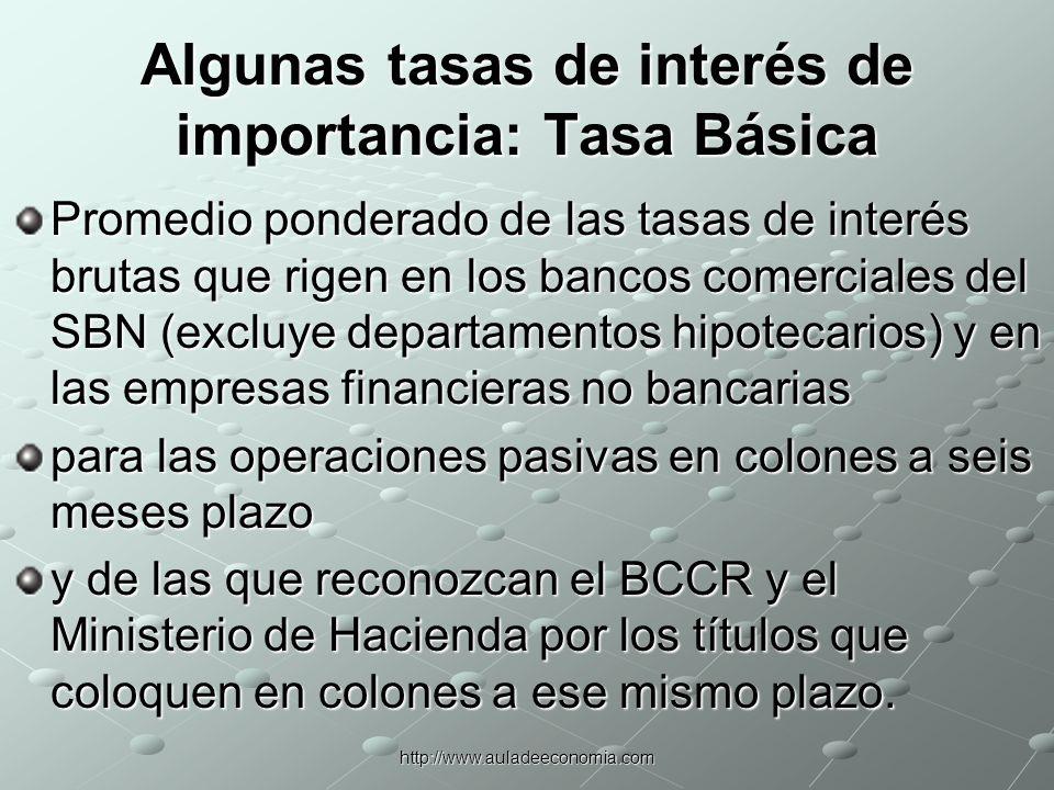 Algunas tasas de interés de importancia: Tasa Básica