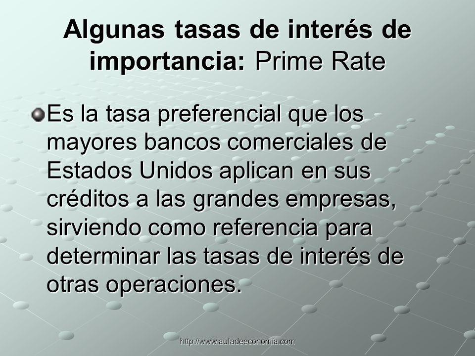 Algunas tasas de interés de importancia: Prime Rate