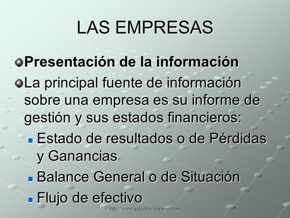 LAS EMPRESAS Presentación de la información