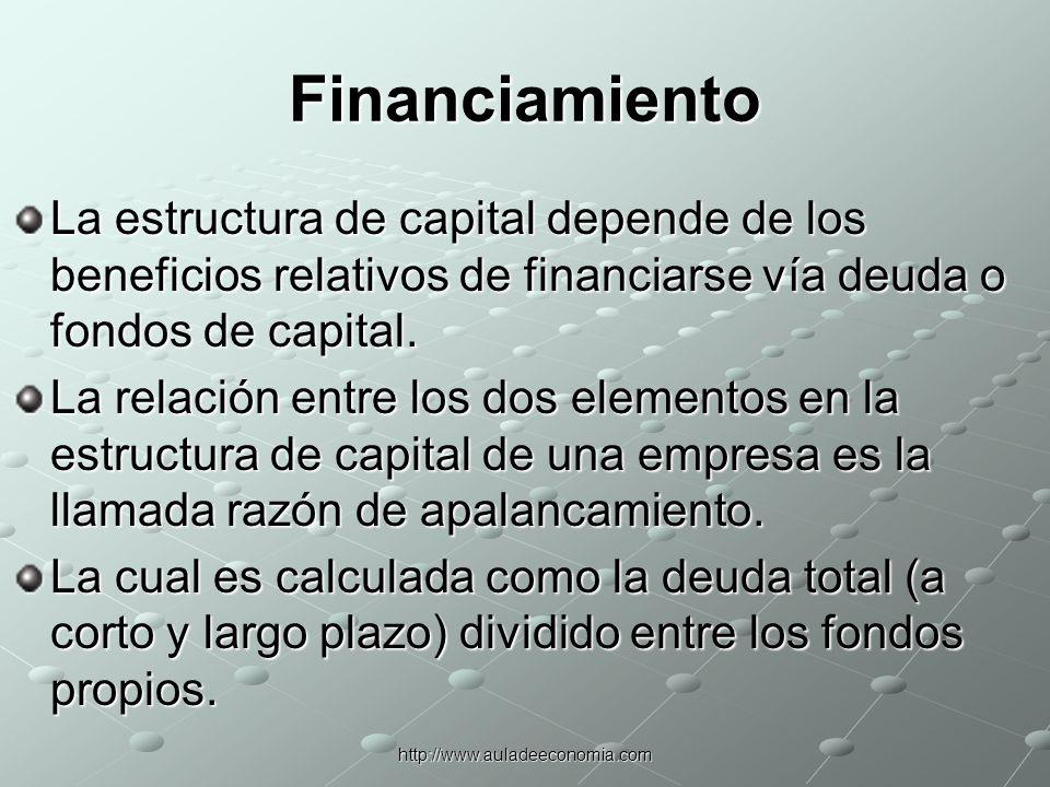 FinanciamientoLa estructura de capital depende de los beneficios relativos de financiarse vía deuda o fondos de capital.