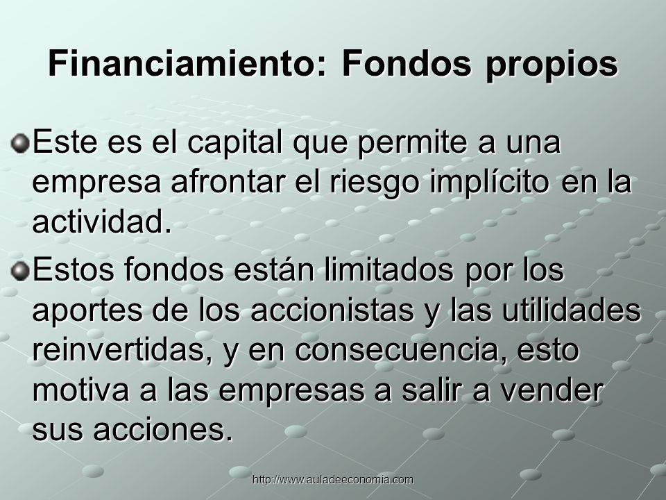 Financiamiento: Fondos propios