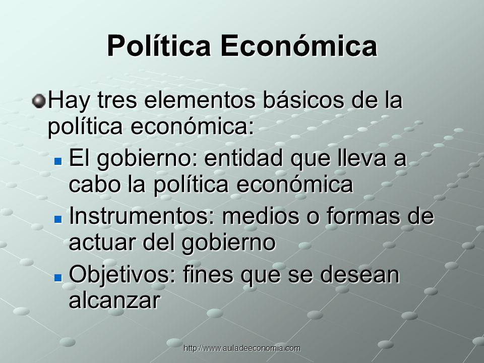 Política Económica Hay tres elementos básicos de la política económica: El gobierno: entidad que lleva a cabo la política económica.