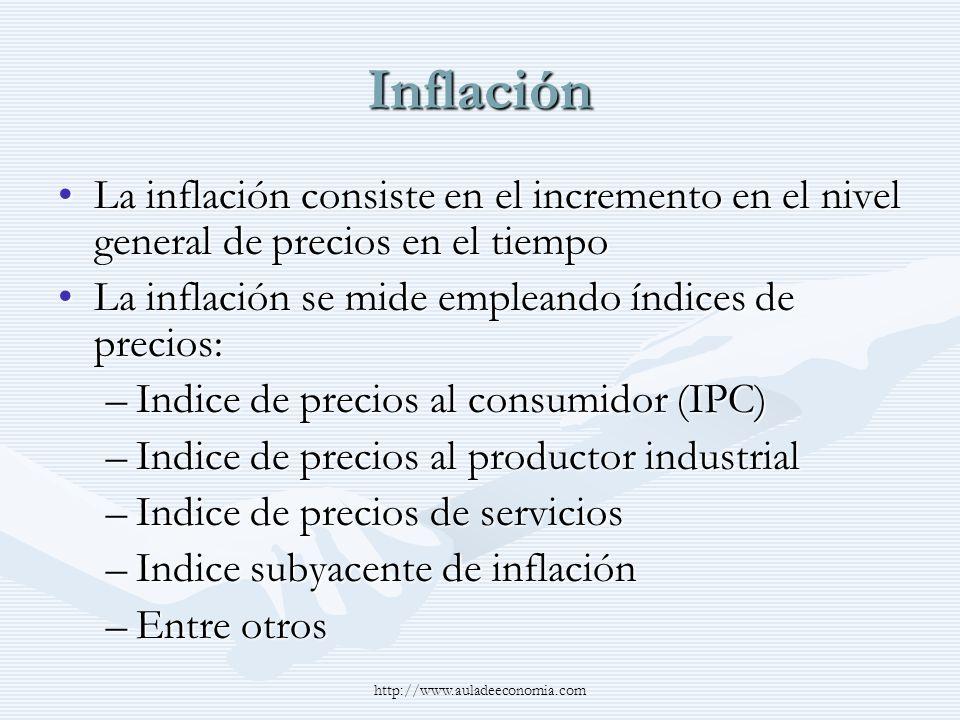 InflaciónLa inflación consiste en el incremento en el nivel general de precios en el tiempo. La inflación se mide empleando índices de precios: