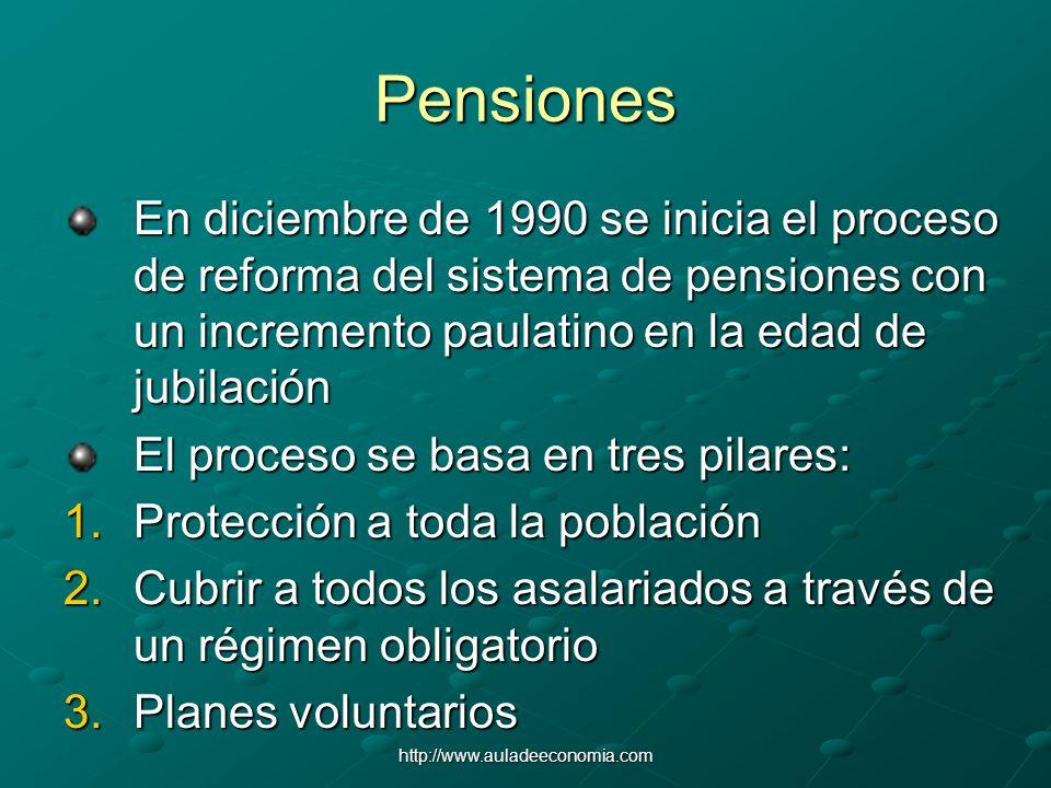Pensiones En diciembre de 1990 se inicia el proceso de reforma del sistema de pensiones con un incremento paulatino en la edad de jubilación.