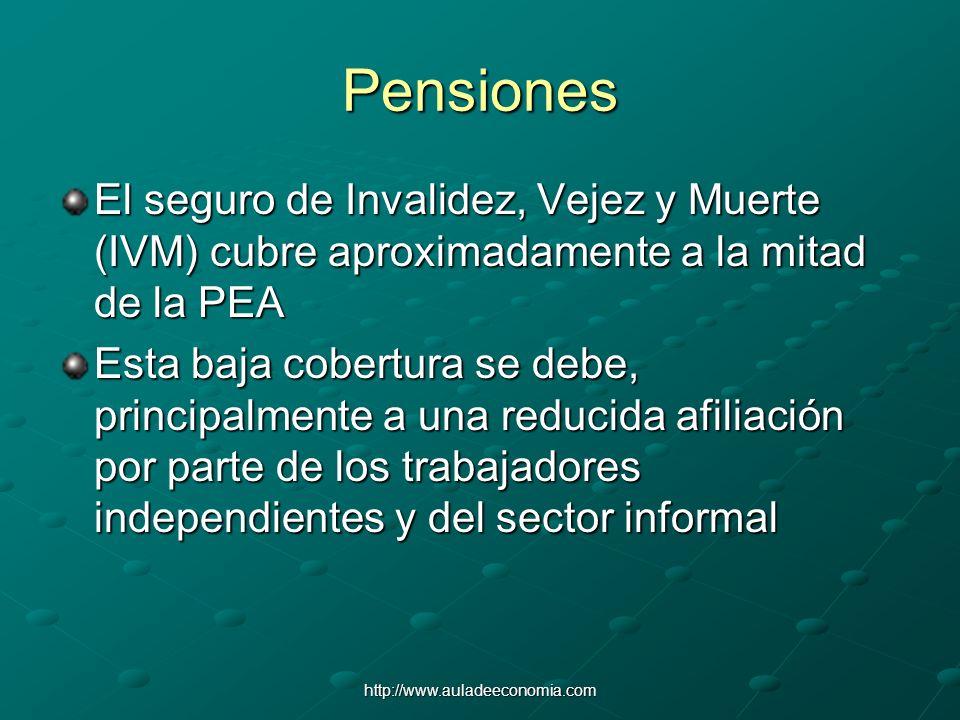 Pensiones El seguro de Invalidez, Vejez y Muerte (IVM) cubre aproximadamente a la mitad de la PEA.