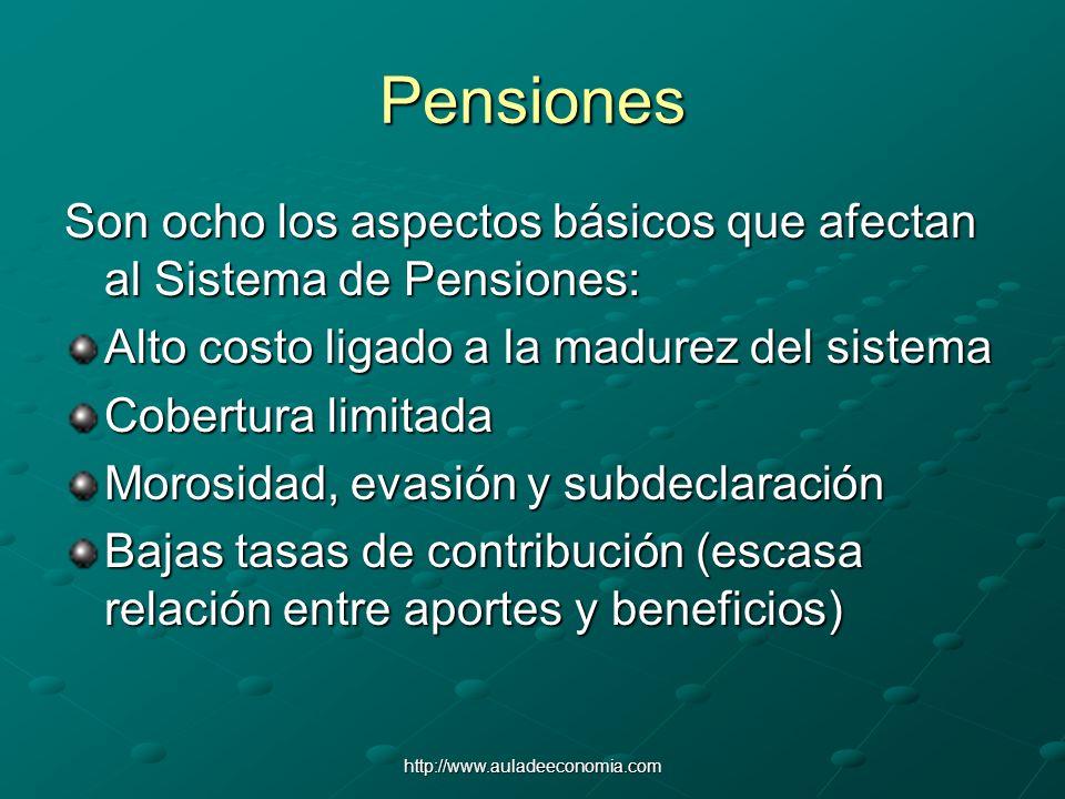 Pensiones Son ocho los aspectos básicos que afectan al Sistema de Pensiones: Alto costo ligado a la madurez del sistema.
