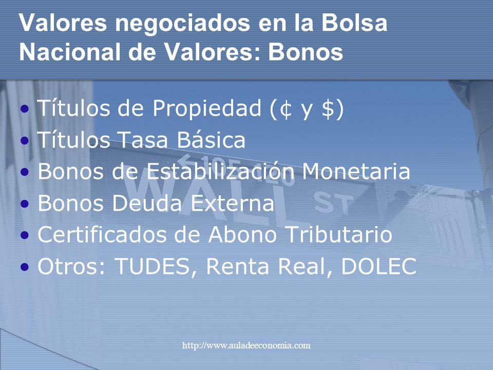 Valores negociados en la Bolsa Nacional de Valores: Bonos